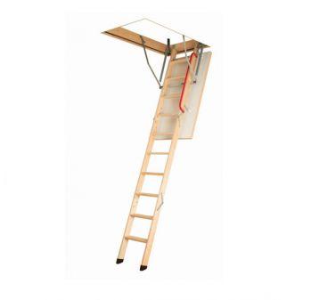 Fakro LWK Komfort met metalen handgreep en beschermdoppen, plafondhoogte 305 cm bakhoogte 14 cm en bakmaat 70x130 cm.