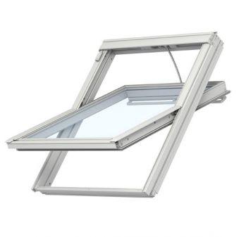 VELUX GGL UK08 dakraam INTEGRA elektrisch bediend met HR++ geluidsisolerend glas wit afgelakt 134x140 cm.