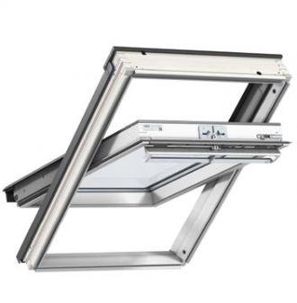 VELUX dakraam GGU kunststof MK08 78x140 cm voor vochtige ruimtes inclusief EDW gootstuk pannendak.