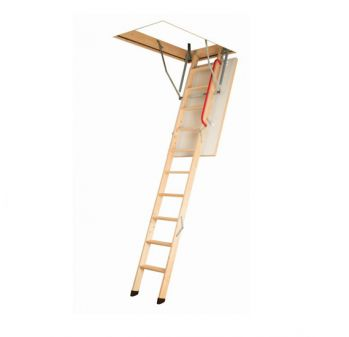 Fakro LWK Komfort met metalen handgreep en beschermdoppen, plafondhoogte 305 cm bakhoogte 14 cm en bakmaat 70x140 cm.